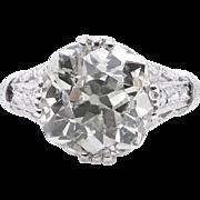 Edwardian GIA 5.01ct Old Mine Diamond Engagement Platinum Ring