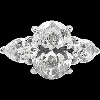 Vintage GIA 3.70ct Oval Diamond 3 Stone Engagement Platinum Ring