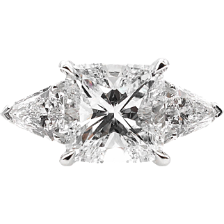 Vintage GIA 2.82ct Cushion Diamond Three Stone Engagement Platinum Ring