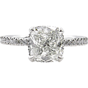 Vintage GIA 2.51ct Cushion Diamond Engagement Platinum Ring
