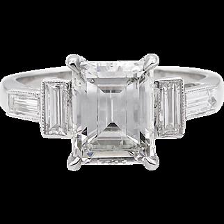 Art Deco GIA 3.11ct Emerald cut Diamond Engagement Platinum Ring