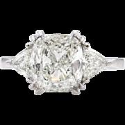 Vintage Shy 3.00ct Cushion Diamond 3 Stone Engagement Platinum Ring EGL USA