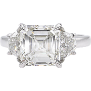 Vintage GIA 3.65ct Asscher Diamond 3 Stone Engagement Platinum Ring
