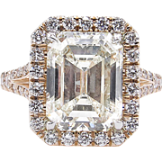 Vintage 5.02ct Emerald cut Diamond Halo Engagement 14k Rose Gold Ring
