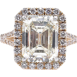 Vintage 5.02ct Emerald cut Diamond Halo Engagement 14k Rose Gold Ring