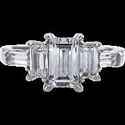 D Color!! Vintage GIA 1.85ct Emerald Diamond 5 Stone Engagement Platinum Ring