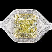 Vintage GIA 5.09ct Fancy Yellow Cushion Diamond Three Stone Engagement Platinum Ring