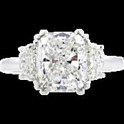 Vintage 3.71ct Cushion Diamond 3 Stone Engagement Platinum Ring EGL USA