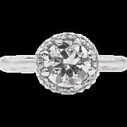 Vintage GIA 1.12ct Old European Diamond TACORI Engagement Platinum Ring