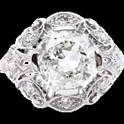 GIA 2.01ct Antique Vintage Old European Diamond Engagement Wedding Platinum Ring