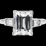 Art Deco GIA 3.02ct Carrè Emerald Diamond 3 Stone Engagement Platinum Ring