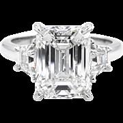 Vintage GIA 4.67 ct Emerald Diamond 3 Stone Engagement Platinum Ring