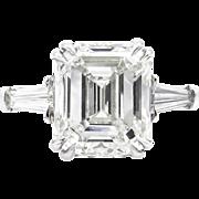 Vintage GIA 5.62ct Emerald Diamond Engagement Platinum Ring