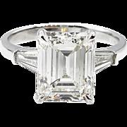 Vintage GIA 4.13ct Emerald Diamond Engagement Platinum Ring