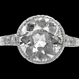 Vintage 3.09ct Old European Diamond Engagement Platinum Ring EGL USA