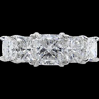 GIA 3.32ct Estate Vintage Radiant Diamond 5 Stone Engagement Wedding Platinum Band Ring