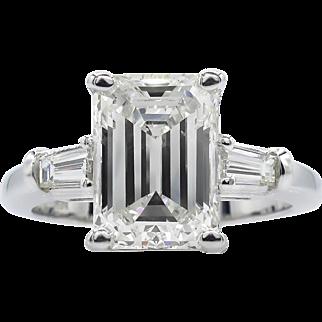 Vintage GIA 3.49ct Emerald cut Diamond Engagement 18k White Gold Ring