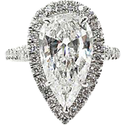 Vintage 4.19ct Pear Diamond Halo Engagement Platinum Ring EGL USA