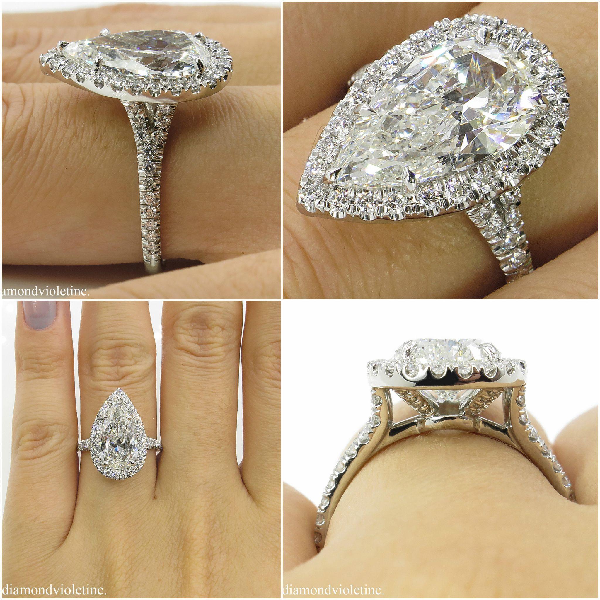 Vintage 4 19ct Pear Diamond Halo Engagement Platinum Ring EGL USA