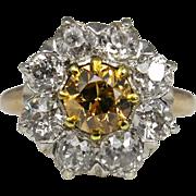 Victorian 2.60ct Cognac Old European Diamond Cluster Engagement 14k Rose Gold Platinum Ring EGL USA