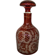 Bohemian Egermann Ruby Cut to Clear Wheel Cut Baroque Crystal Glass Decanter with Stopper Deer Architecture Flora Fauna