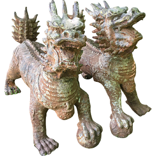 """Pair Antique 15"""" H Dragon Qing Dynasty 1700s Gilt Cast Iron Statues Chinese Mythical Snarling Creatures Talons Grasping Pearls"""