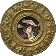 PAIR Antique 19th C Hand Painted Enameled Portraits Noblewomen on Porcelain Plates in Embossed Brass Frames with Griffins