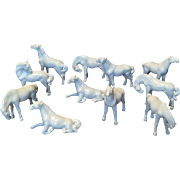 Set of 11 Beautiful Antique Blanc de Chine Porcelain Miniature Horses Detailed Graceful Forms in Various Natural Positions