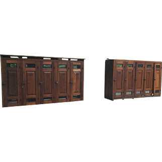 Local Pick Up Only - Set of 10 Antique Wooden Gym School Storage Lockers For Restoration Repurpose Mudroom Bar Pantry Bed Headboard