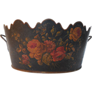Antique Tole Monteith Hand Painted Floral Design France
