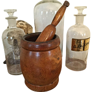 "Antique Large 10"" H 19th C Wood Mortar and Pestle Set for Your Apothecary Display"