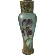 "Antique Marked Mont Joye 11 5/8"" H Hand Painted Enameled Cameo Lily Floral Gilded Art Nouveau Tall Chipped Ice Glass Vase with Ground Pontil"