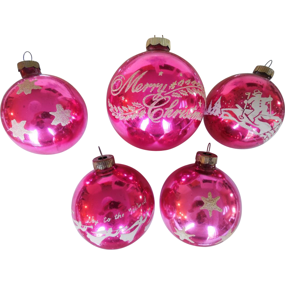 Vintage 1940s-50s Set of 5 Shiny Brite Brand Pink Stenciled Glitter Blown Glass Christmas Ornaments