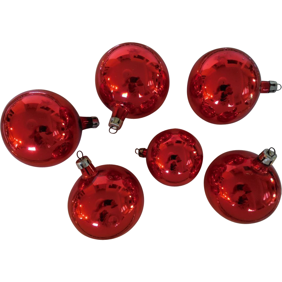 Red glass christmas ornaments - Vintage 1940s 50s Set Of Six Red Blown Glass Christmas Ornaments