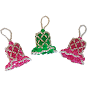 Vintage Set of Three Beaded Jeweled Bell Christmas Ornaments
