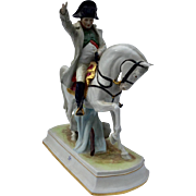 Vintage Marked Scheibe-Alsbach German Porcelain Napoleon on Horseback Figurine Pointing Towards Victory