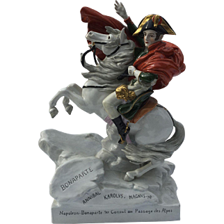 "Vintage Marked Scheibe-Alsbach Porcelain Figurine Napoleon Bonaparte ""1er Consul au Passage des Alpes"" or First Consul Crossing the Alps"