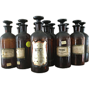 From Elli Buk Collection 11 Antique John Wyeth & Brother Amber Apothecary Glass Bottles with Stoppers Opium, Phenobarbital Elixir, Myrrh