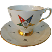 Freemason Masonic Order of the Eastern Star Gilt Teacup and Saucer Set by Tuscan England Bone China 1947-1967