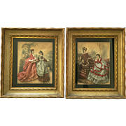 Antique Victorian Late 19thC French Pair Heloise Suzanne Leloir La Mode Illustree Fashion Prints Embelished with Fabric in Shadowbox Frames