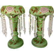 "Pair Victorian Large 14 1/2"" H Opaline Cased Satin Green Glass Enameled Lustres Lusters with Prisms Fireplace Mantel Sideboard Buffet Table Decor 416.82"
