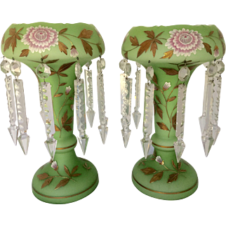 """Pair Victorian Large 14 1/2"""" H Unusual Cased Satin Green Glass Enameled Lustres Lusters with Prisms Fireplace Mantel Sideboard Buffet Table Decor 416.82"""