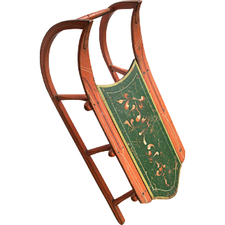 Beautiful Antique Hand Painted Cutter Sled Winter Holiday Christmas Decor Sleigh Peach Orange Green Cream Scrollwork Pinstripes