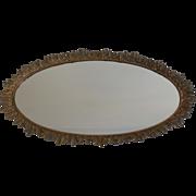 """Large 23"""" L Gilt Karew Vanity Mirror Dresser Tray With Leaf Design"""