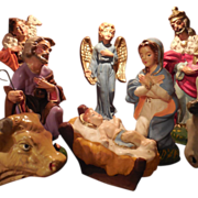 Vintage Christmas Nativity Set of 9 Hand Painted Chalkware Figurines Italy