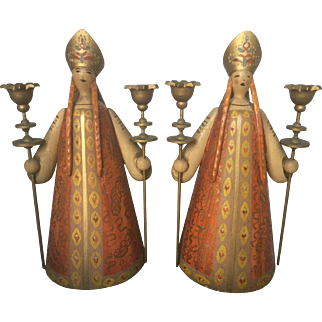 """Rare Large 9"""" H PAIR Vintage Wendt & Kuhn 1930-37 Wooden Erzgebirge Germany Handpainted The Russian (Woman) in Traditional Dress Christmas Decor"""