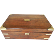 Antique 19th C English VR Lap Desk With Secret Drawers Containing Period Selina Heffer (Born 1794) Documents
