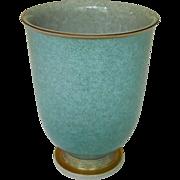 """Vintage Mid Century Modern Royal Copenhagen Gold Leaf Gilt Blue and Gray Footed Crackle 6"""" Vase"""