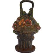 Antique Mortuary Funerary Rare Angel of Death Pansy Basket Painted Iron Doorstop