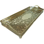 "Exquisite Wilcox Silver Plate Co. Rectangular Gallery Serving Tray 14 1/2"" L Plated"